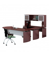 Mayline Medina MNT32 U-Shaped Executive Office Desk Set (Shown in Mahogany)