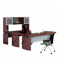 Mayline Medina MNT31 U-Shaped Executive Office Desk Set (Shown in Mahogany)