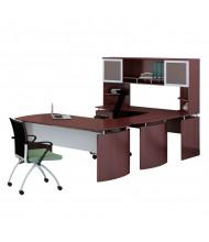 Mayline Medina MNT35 U-Shaped Executive Office Desk Set (Shown in Mahogany)
