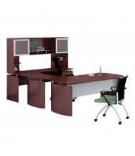 Mayline Medina MNT34 U-Shaped Executive Office Desk Set (Shown in Mahogany)