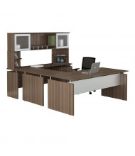 Mayline Medina MNT39 U-Shaped Executive Office Desk Set (Shown in Brown)