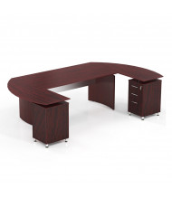 "Mayline Medina MNT6 72"" W Floating Straight Front Office Desk with Pedestals (Shown in Mahogany)"
