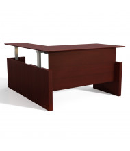 "Mayline Medina 63"" W Electric L-Shaped Straight Front Height Adjustable Desk (Shown in Mahogany)"