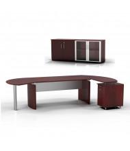 Mayline Medina MNT7 Executive Office Desk Set (Shown in Mahogany)