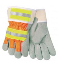 Memphis Luminator Reflective Gloves, Economy Grade Leather, Gray-Orange-Yellow, LG, 12/Pair