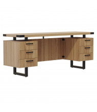 "Safco Mirella 66"" W Straight Front Double Box Pedestals Credenza Office Desk (Shown in Tan)"