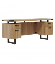 "Safco Mirella 66"" W Straight Front Double Box / File Pedestals Credenza Office Desk (Shown in Tan)"