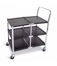 "Luxor 3-Shelf 20"" x 34"" Folding Steel Utility Cart 300 lb Load"
