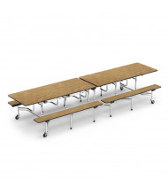 Virco 12 ft. Mobile Cafeteria Bench Table (medium oak)