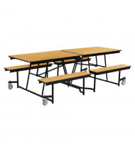 NPS Mobile Cafeteria Table with Benches, Light Oak (8 ft. model shown)