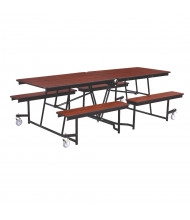 NPS Mobile Cafeteria Table with Benches, Wild Cherry (8 ft. model shown)