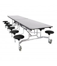NPS 10 ft. Mobile Cafeteria Table with 12 Stools (Shown in Black)