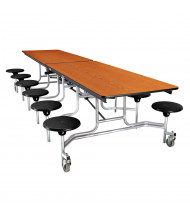 NPS 10 ft. Wild Cherry Top Mobile Cafeteria Table with 12 Stools (Shown in Black)