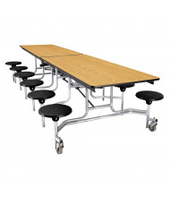 NPS 10 ft. Light Oak Top Mobile Cafeteria Table with 12 Stools (Shown in Black)
