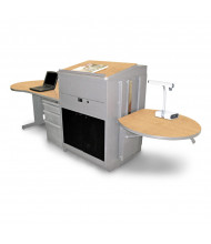Marvel Vizion Lectern Media Center Teacher Desk, Acrylic Doors (Shown in Maple Top/Silver Base)