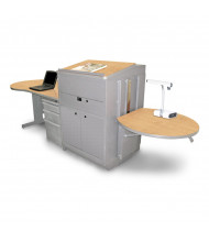 Marvel Vizion Lectern Media Center Teacher Desk, Steel Doors (Shown in Maple Top/Silver Base)