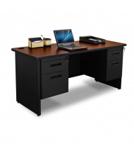 """Marvel Pronto PCR6024DP 60"""" W Straight Front Double Pedestal Credenza Office Desk (Shown In Mahogany Top/Black Base)"""