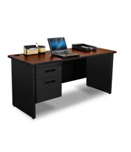 "Marvel Pronto PCR6024SP 60"" W Straight Front Pedestal Credenza Office Desk (Shown In Mahogany Top/Black Base)"