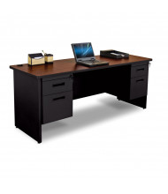 """Marvel Pronto PCR7224DP 72"""" W Straight Front Double Pedestal Credenza Office Desk (Shown In Mahogany Top/Black Base)"""
