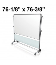 "Ghent Nexus IdeaWall 76-1/8"" x 76-3/8"" Double-Sided Mobile Porcelain Magnetic Whiteboard, Frosted"