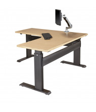 "RightAngle Eficiente LT Electric 27"" - 47"" H L-Shaped Straight Front Height Adjustable Standing Desk (Shown in Maple, monitor mount not included)"