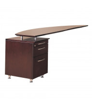 "Mayline Napoli NRTPL 63"" W Curved Desk Return with Pedestal, Left (Shown in Mahogany)"
