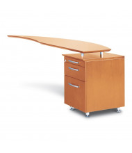 "Mayline Napoli NRTPR 63"" W Curved Desk Return with Pedestal, Right (Shown in Golden Cherry)"