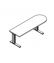 "RightAngle Elegante Right-Radius Electric Adjustable 24"" - 51"" H Peninsula Table"