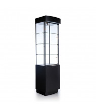 "Tecno OP100 Curved Optical Tower Display Case 20"" W x 18.75"" D x 14.75"" H (black, micro spotlights sold separately)"