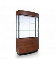 "Tecno OP105 Curved Display Case 48"" W x 15.5"" D x 80"" H (mahogany/black frame)"