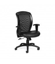 Offices to Go OTG11692 Adjustable Mesh-Back Luxhide Mid-Back Ergonomic Task Chair - Shown in Black