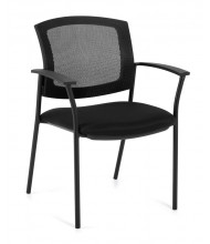 Offices to Go OTG2809 Mesh-Back Fabric High-Back Guest Chair - Shown in Black