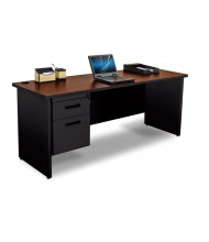 "Marvel Pronto PCR7224SP 72"" W Straight Front Pedestal Credenza Office Desk (Shown In Mahogany Top/Black Base)"