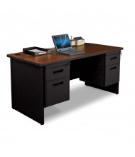 "Marvel Pronto PDR6030DP 60"" W Straight Front Double Pedestal Office Desk (Shown In Mahogany Top/Black Base)"