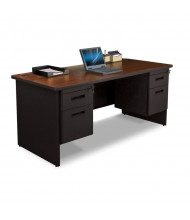 "Marvel Pronto PDR6630DP 66"" W Straight Front Double Pedestal Office Desk (Shown In Mahogany Top/Black Base)"