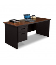 "Marvel Pronto PDR6630SP 66"" W Straight Front Pedestal Office Desk (Shown In Mahogany Top/Black Base)"