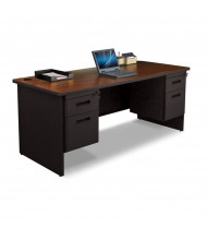 "Marvel Pronto PDR7230DP 72"" W Straight Front Double Pedestal Office Desk (Shown In Mahogany Top/Black Base)"