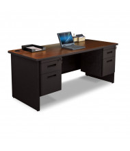 "Marvel Pronto PDR7236DP 72"" W Straight Front Double Pedestal Office Desk (Shown In Mahogany Top/Black Base)"