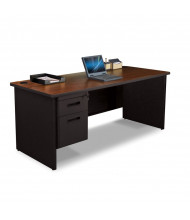 """Marvel Pronto PDR7236SP 72"""" W Straight Front Pedestal Office Desk (Shown In Mahogany Top/Black Base)"""