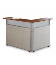 "OFM RiZe 60"" W L-Shaped Vinyl Panel Reception Station (Shown in Beige with Cherry top)"