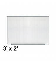 Ghent PLM3-23-0 Phantom Line 3 ft. x 2 ft. Magnetic Grid Pattern Whiteboard