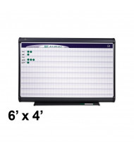 "Quartet PP1164 Prestige Plus 6 ft. x 4 ft. Magnetic 1"" x 1"" Grid Porcelain Planning Board"