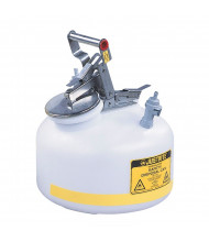 "Justrite PP12752 Quick-Disconnect 2 Gallon Poly Safety Can with Poly Fittings for 3/8"" Tubing, White"