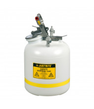 "Justrite PP12755 Quick-Disconnect 5 Gallon Poly Safety Can with Poly Fittings for 3/8"" Tubing, White"