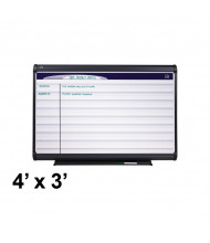 Quartet PP143 Prestige Plus 4 ft. x 3 ft. Horizontal Lined Magnetic Porcelain Planning Board