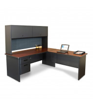 Marvel Pronto PRNT4 L-Shaped Office Desk Set (Shown In Mahogany Top/Dark Neutral Base)