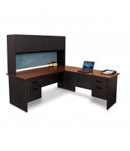 Marvel Pronto PRNT6 L-Shaped Office Desk Set (Shown In Mahogany Top / Black Base)