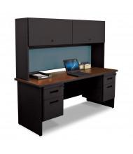 "Marvel Pronto PRNT7 72"" W Credenza Office Desk Set (Shown In Mahogany Top / Black Base)"