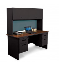 "Marvel Pronto PRNT8 60"" W Credenza Office Desk Set (Shown In Mahogany Top/Black Base)"