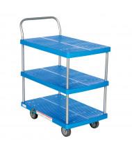 "Vestil PSC-1828-3 Three Shelf 500 lb. 18"" x 28"" Plastic Platform Truck"